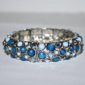 Beautiful silver and blue bangle bracelet